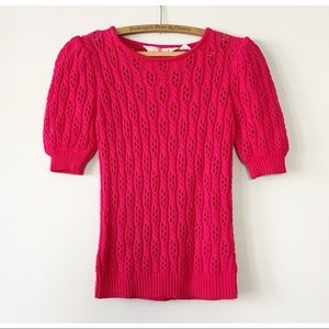 Vintage Early 80s Puff-Sleeve Sweater Fuschia M